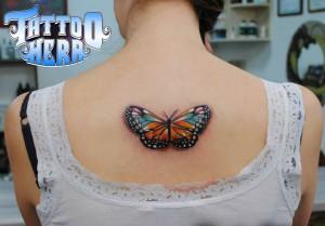 renkli kelebek dövmesi